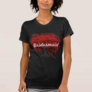 Árbol rojo de la hoja del corazón camisetas