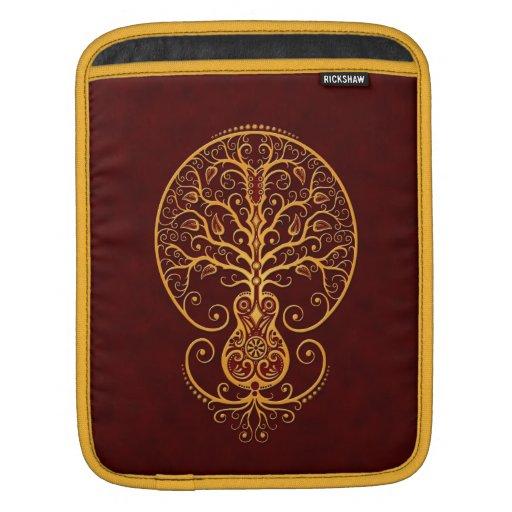Árbol rojo de oro de la guitarra de la vida fundas para iPads