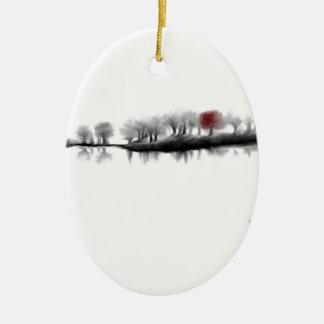 Árbol rojo adorno ovalado de cerámica