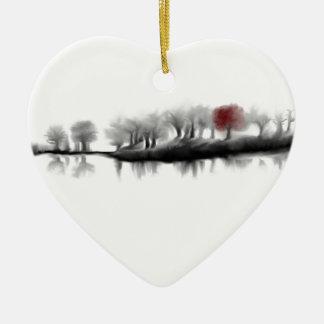 Árbol rojo adorno de cerámica en forma de corazón