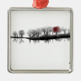 Árbol rojo adorno cuadrado plateado