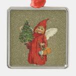 Árbol rojo del ángel del navidad del vintage ornamentos de reyes magos