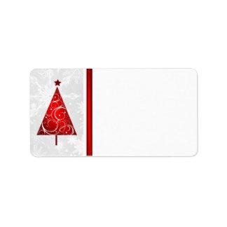 Árbol rojo del navidad - etiquetas de correo en etiquetas de dirección
