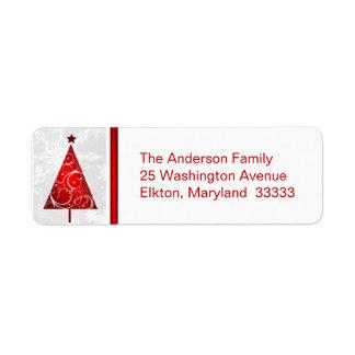Árbol rojo del navidad - etiquetas del remite etiqueta de remitente