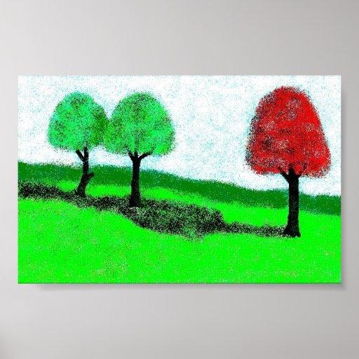 árbol rojo demasiado verde posters