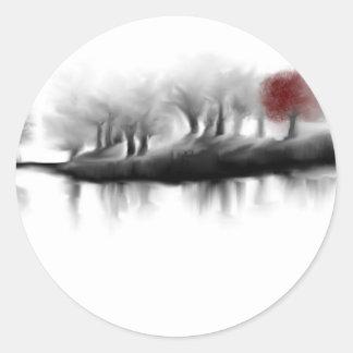 Árbol rojo pegatina redonda