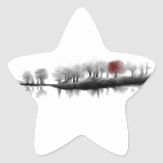 Árbol rojo pegatinas forma de estrellaes