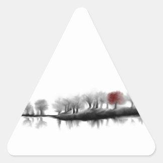 Árbol rojo pegatinas de trianguladas