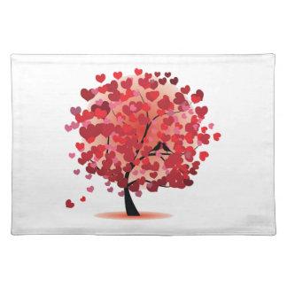 Árbol rojo Placemat de los corazones Manteles Individuales