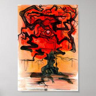 árbol rojo póster
