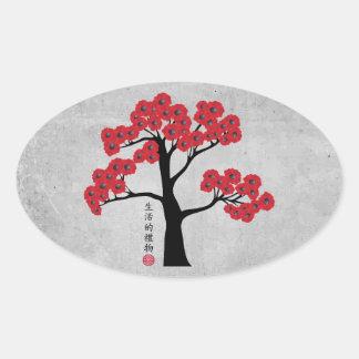 """Árbol rojo """"regalo del flor de la vida """" pegatina ovalada"""