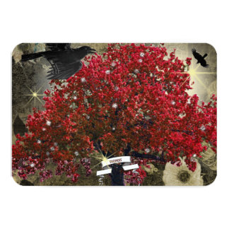 """Árbol rojo RSVP gótico del árbol del cuervo Invitación 3.5"""" X 5"""""""