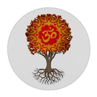 Árbol rojo y amarillo de OM de la yoga de la vida Juego De Fichas De Póquer