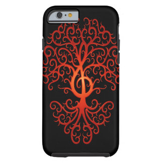Árbol, rojo y negro del Clef agudo Funda De iPhone 6 Tough