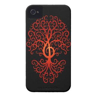 Árbol, rojo y negro del Clef agudo Case-Mate iPhone 4 Cobertura