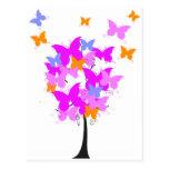 Árbol rosado de la mariposa tarjetas postales