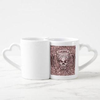 Árbol rosado de la vida, ojos de Yin Yang, cráneo Set De Tazas De Café