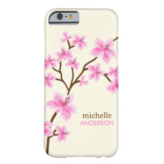 Árbol rosado de las flores de cerezo funda de iPhone 6 barely there