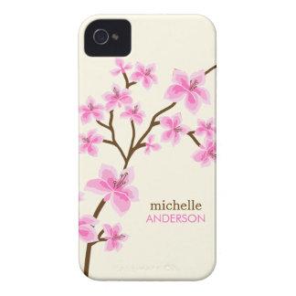 Árbol rosado de las flores de cerezo iPhone 4 Case-Mate protectores