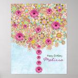 Árbol rosado de las flores de la primavera - poste póster