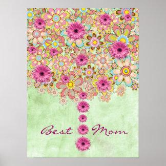 Árbol rosado de las flores del flor - la mejor póster