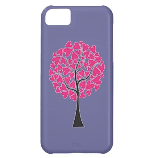 Árbol rosado de los corazones en la caja púrpura d funda para iPhone 5C