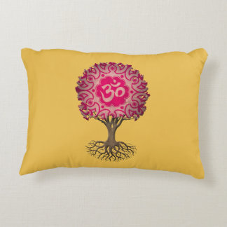 Árbol rosado de OM de la yoga de la vida Cojín