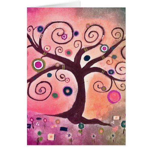 Árbol rosado del melocotón del icansketchu de Kerr Felicitación