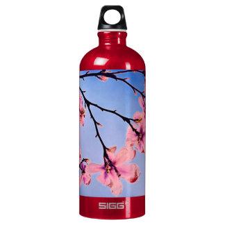 árbol rosado hermoso de la primavera botella de agua