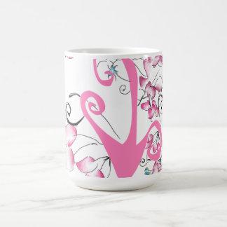 árbol rosado taza básica blanca