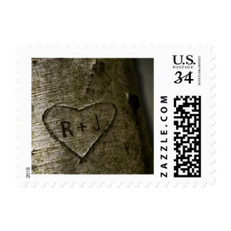 Árbol rústico que talla el franqueo pequeño sellos postales