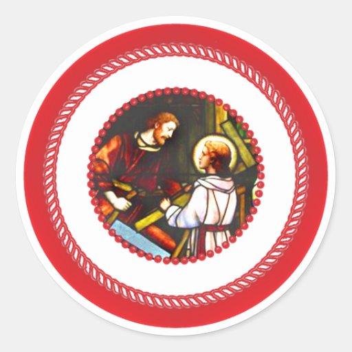 Árbol San José y Cristo de Jesse Pegatina Redonda