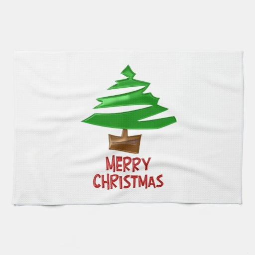 Árbol simple de las Felices Navidad Toallas De Cocina