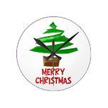 Árbol simple de las Felices Navidad Reloj