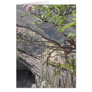 Árbol sobre un tejado cubierto con paja - tarjeta