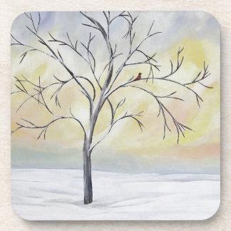 Árbol solo en la pintura de acrílico del invierno posavaso