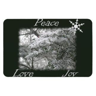 Árbol Spruce Nevado/alegría del amor de la paz Imán Foto Rectangular