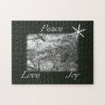 Árbol Spruce Nevado/alegría del amor de la paz Puzzle Con Fotos