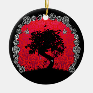 Árbol subió tatuaje de los bonsais del trago del adorno navideño redondo de cerámica