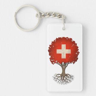 Árbol suizo de la bandera del personalizable de la llavero rectangular acrílico a doble cara