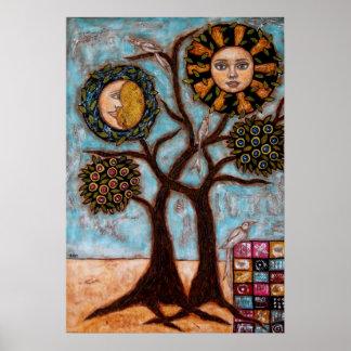 Árbol, Sun y el poster de la luna