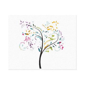 Árbol swirly colorido de Filigaree Impresión En Lienzo Estirada