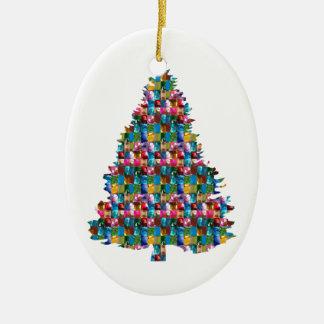 Árbol tachonado GEMA de Navidad:  Felices Navidad Adorno Navideño Ovalado De Cerámica