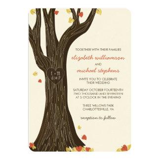 """Árbol tallado caída y hojas que casan la invitación 5"""" x 7"""""""
