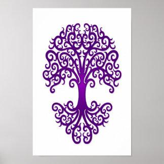 Árbol tribal de la púrpura de la vida en blanco póster