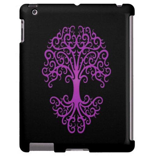 Árbol tribal de la púrpura de la vida en negro funda para iPad