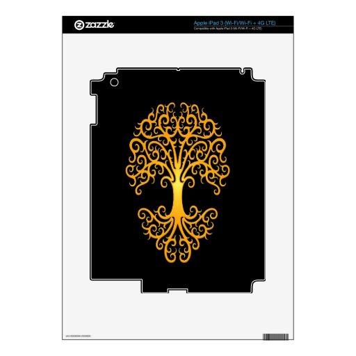Árbol tribal del amarillo de la vida en negro iPad 3 skins