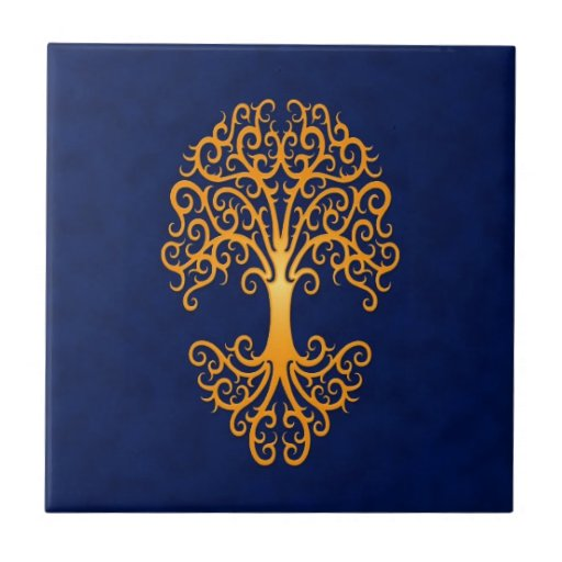 Árbol tribal del azul de oro de la vida azulejo cuadrado pequeño
