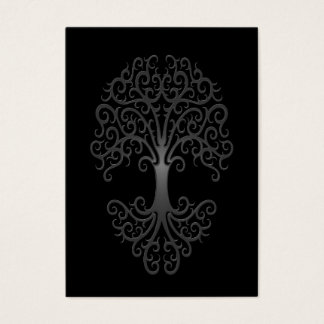 Árbol tribal del gris de la vida en negro tarjeta de negocios