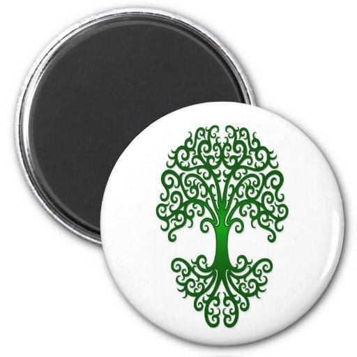 Árbol tribal del verde de la vida en blanco imán redondo 5 cm